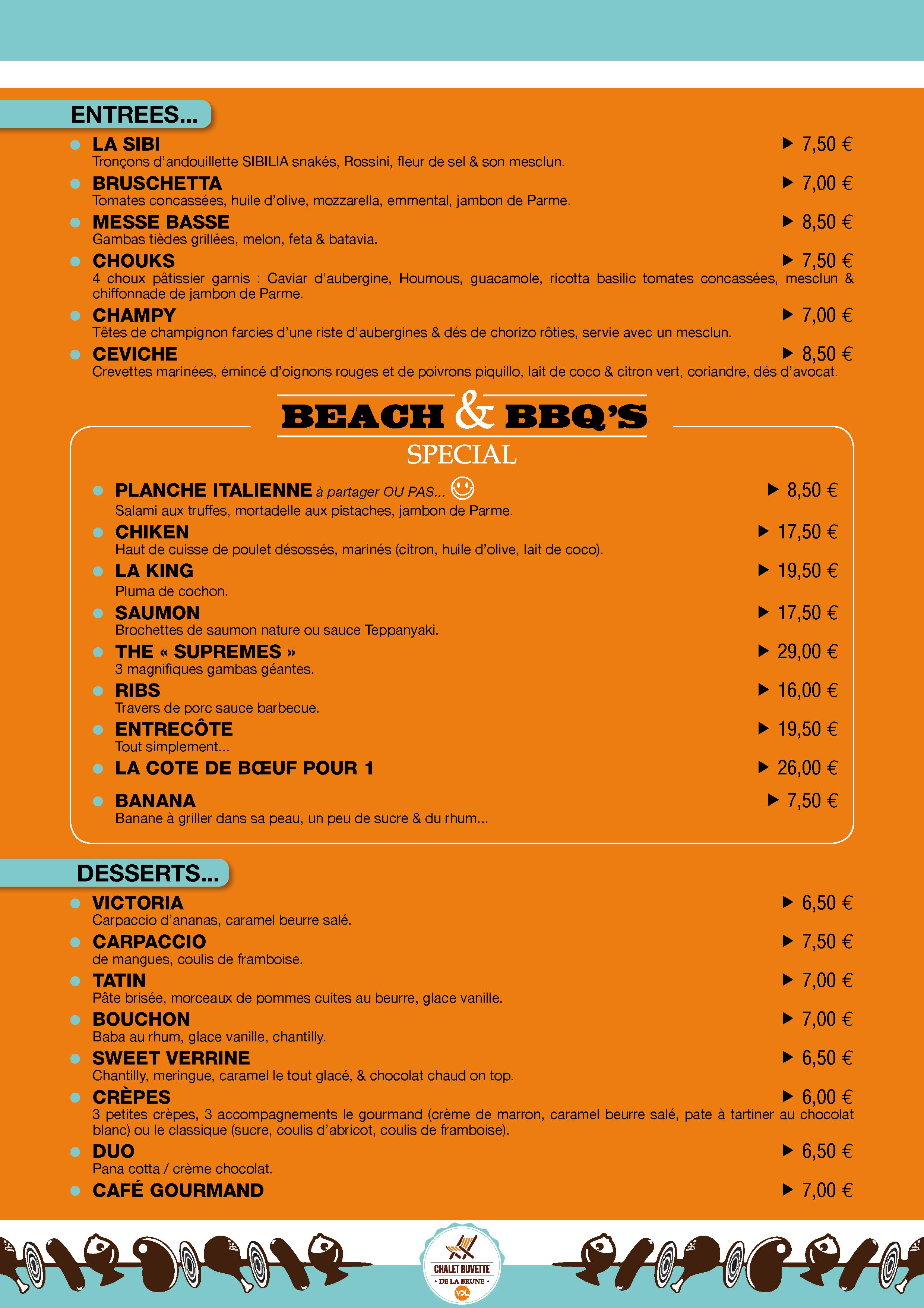 Beach Chalet Restaurant Menu